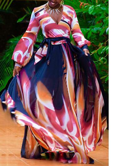 V Neck Printed Long Sleeve Maxi Dress - fashionyanclothes
