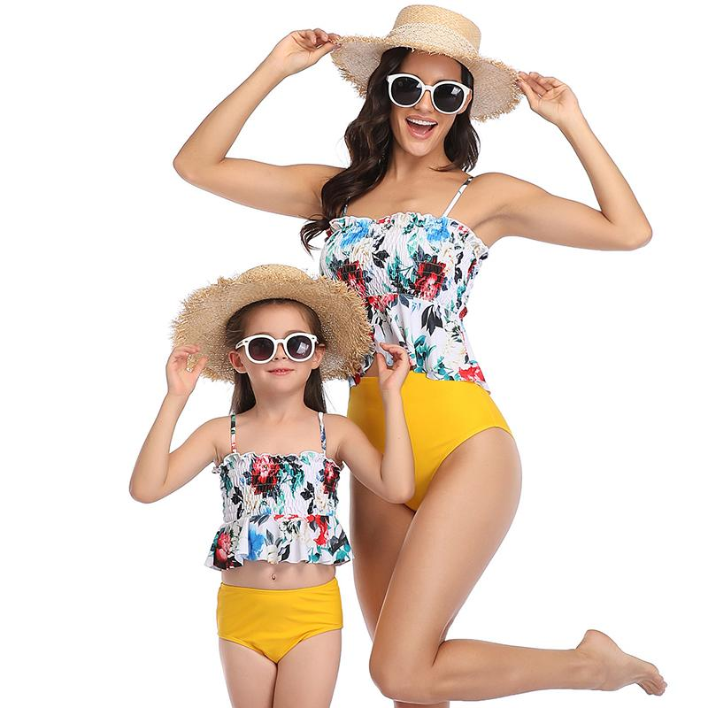 Mom & ME High Waist Flower Printed Swimsuit
