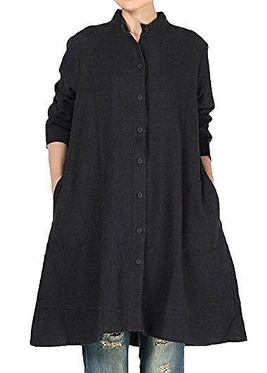 Plus Size Loose Long Cotton Shirts