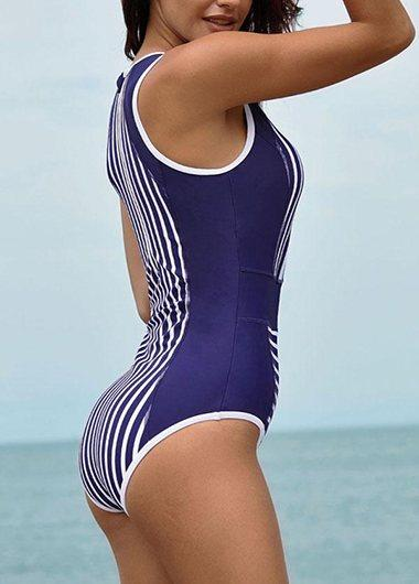 Round Neck Stripe Print One Piece Swimwear