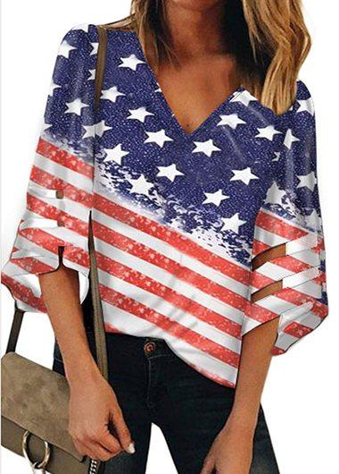 Flag Print V Neck T Shirt - fashionyanclothes