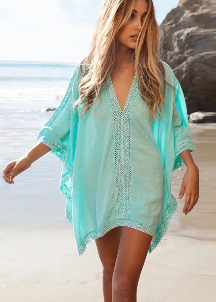 Elegant Solid Color Cotton Cover up - fashionyanclothes