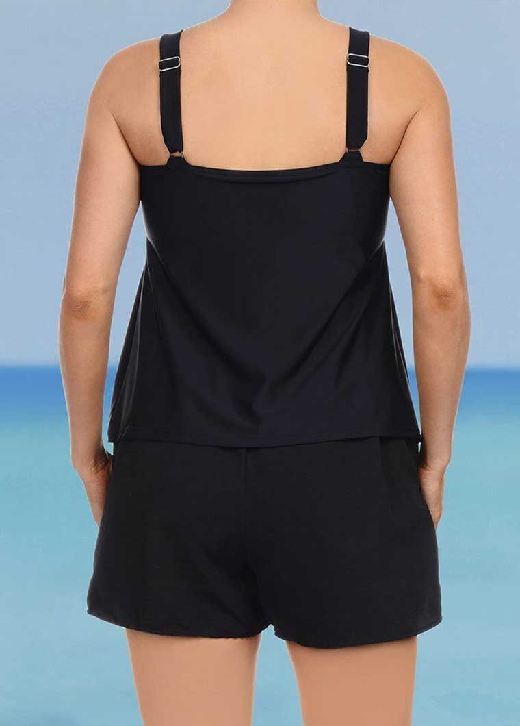 Black Plus Size Tankini Top And Short - fashionyanclothes