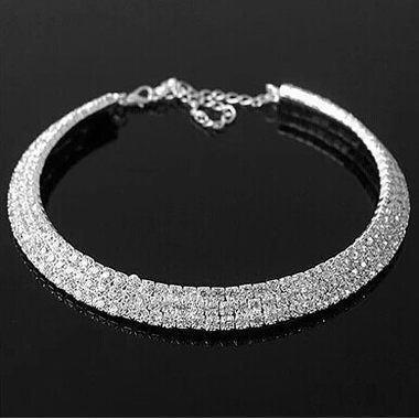 Rhinestone Decorated Silver Metal Choker Necklace