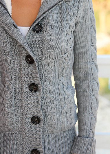 Gray Sweater with Fur Hood - fashionyanclothes