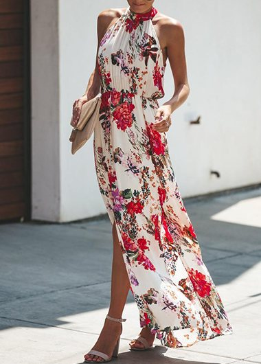 Keyhole Back Print Sleeveless Dress