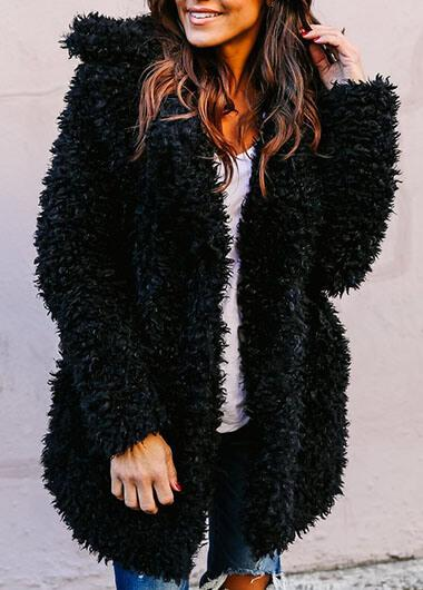 Button Up Long Sleeve Faux Fur Coat - fashionyanclothes