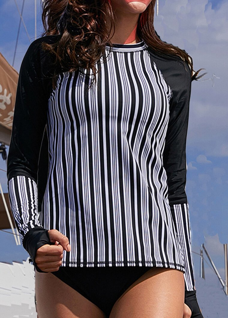 Striped Patchwork Printed Wetsuit