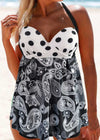 Dot and Paisley Print Swimdress and Shorts - fashionyanclothes