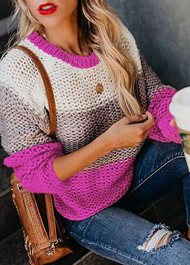 Striped Long Sleeve Loose Knitted Sweater - fashionyanclothes