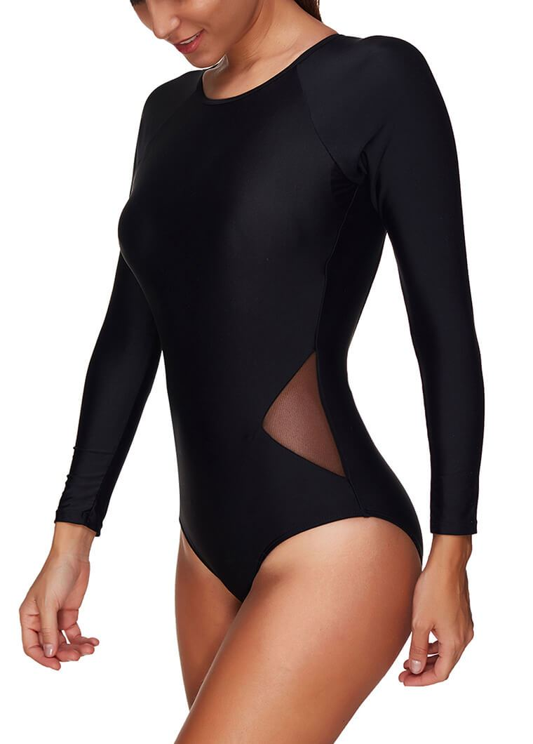 Black Lace Open Back Long Sleeve Wetsuit - fashionyanclothes