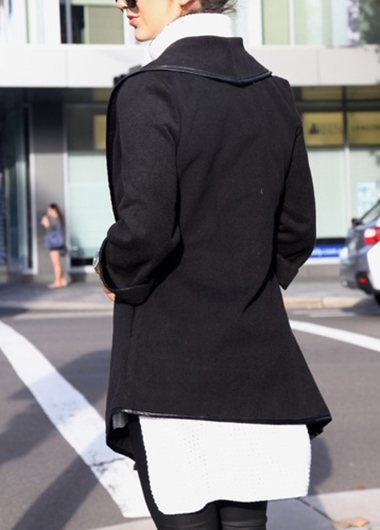 Long Sleeve Asymmetric Hem Coat