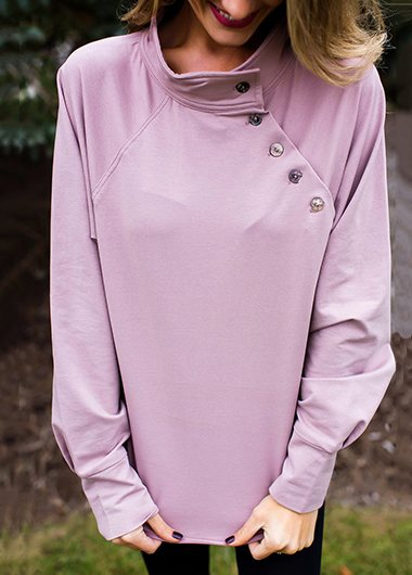 Mauve Button Detail Pullover