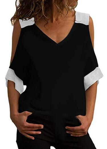Short Sleeve Cold Shoulder Tee - fashionyanclothes