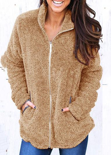 Khaki Zipper  Fleece Coat - fashionyanclothes