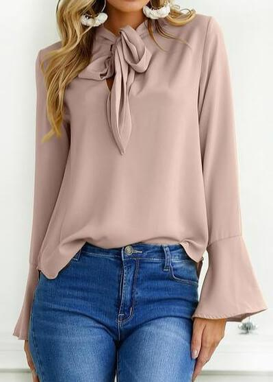 Lace Up Flare Sleeve Elegant Chiffon Blouse - fashionyanclothes