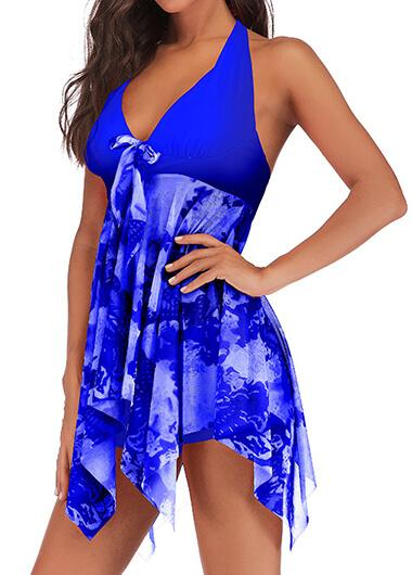 Plus Size Split Printed Tankini - fashionyanclothes