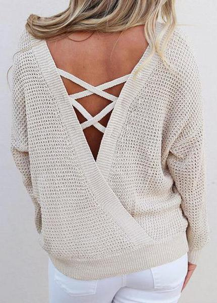 Knitted Backless Lace Up Sweater - fashionyanclothes