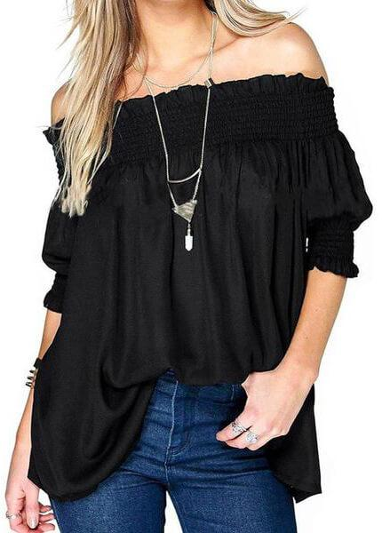 Loose Ruffles Off Shoulder Blouse - fashionyanclothes