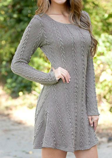 Knitted  Round Neck Long Sleeve Sweater - fashionyanclothes