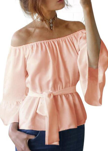 Stretch Flare Sleeve Off Shoulder Tops - esshe