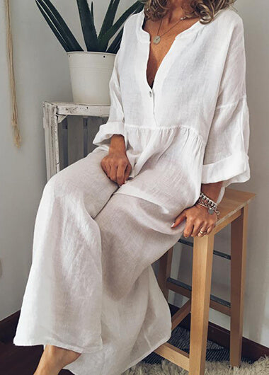 Casual White Solid Long Sleeve Maxidress - fashionyanclothes
