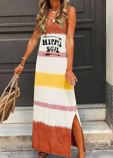 Letter Printed Sleeveless V Neck  Loose Dress - fashionyanclothes