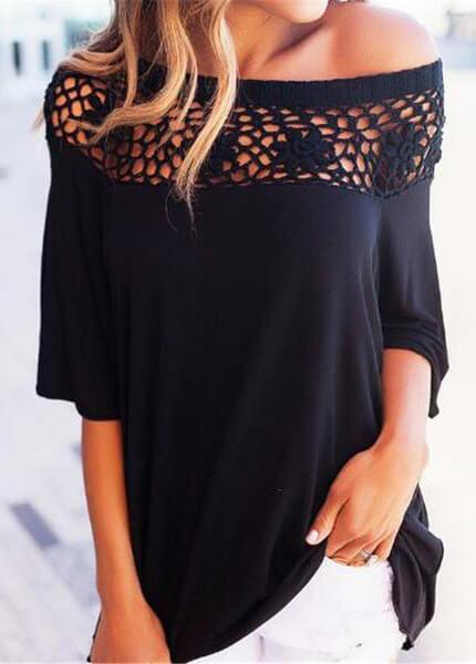 Lace Hollow Out Off Shoulder  Tops - fashionyanclothes
