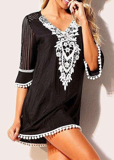 Pom Trim Lace Panel Black Cover Up