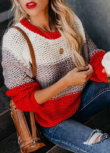 Striped Long Sleeve Loose Knitted Sweater