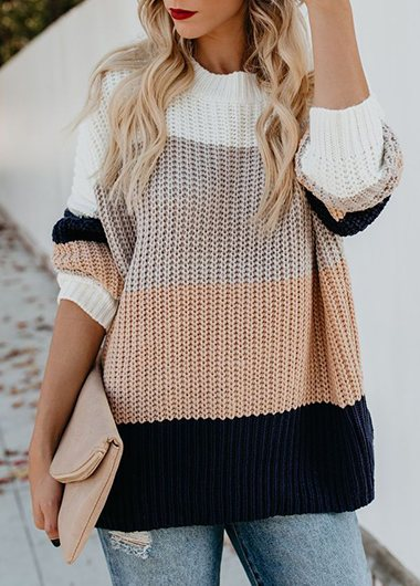 Striped Turtleneck Loose Sweater - fashionyanclothes