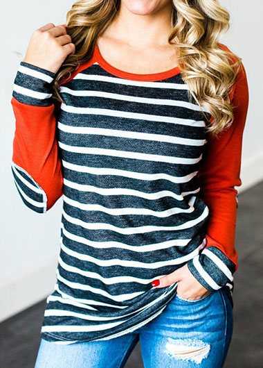 Striped Print Elbow Patch T Shirt - fashionyanclothes