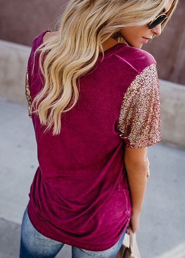 Short Sleev Sequin Embellished T Shirt