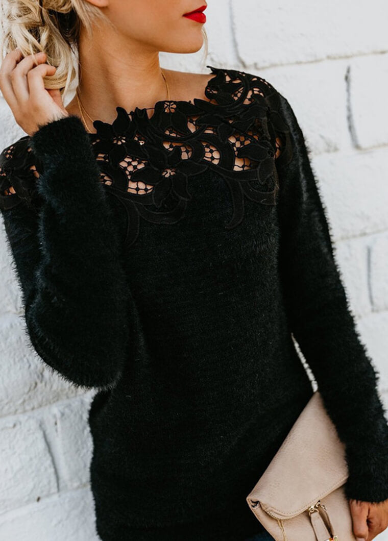 Black Lace Long Sleeve T shirt