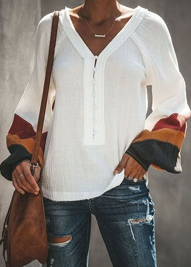 Plus Size Button Up Flare Sleeve T Shirt