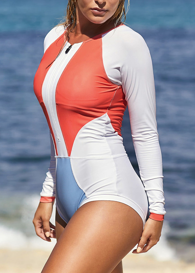 Long Sleeve Zip Front Sport Rash Guard Swimsuit - fashionyanclothes