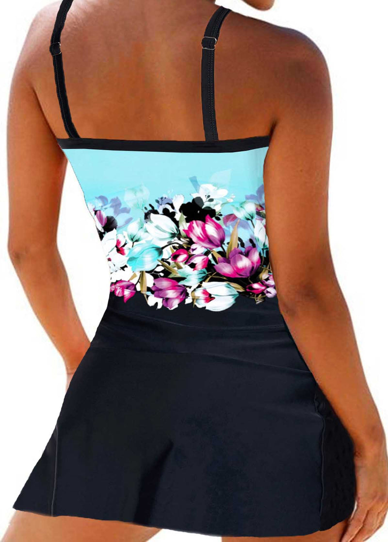 Knot Detail Strappy Retro Flower Print Swimdress - fashionyanclothes