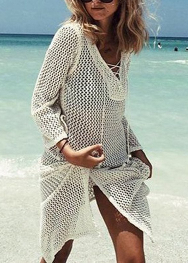 Tassel Tie Knitted Loose Beach Cover Up - fashionyanclothes
