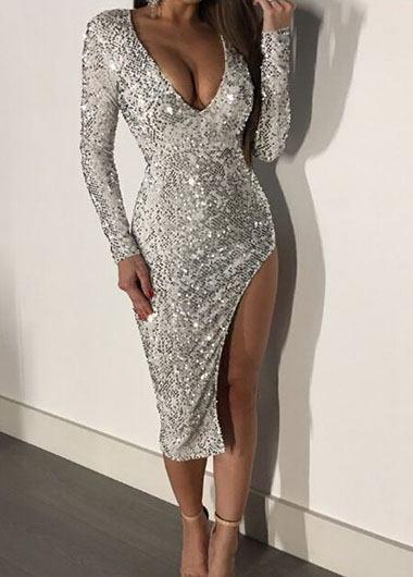 Split Sequined Dress