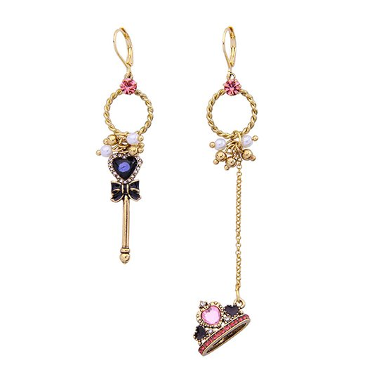 Retro scepter crown asymmetrical earrings