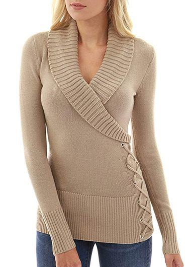 V -Neck Detail Cable Knit Khaki Sweater