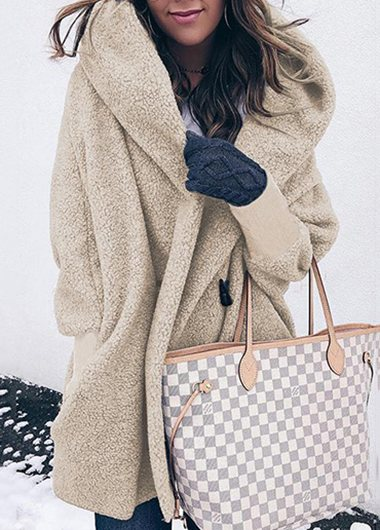 Plus Size Casual Warm Lapel Hooded Coat