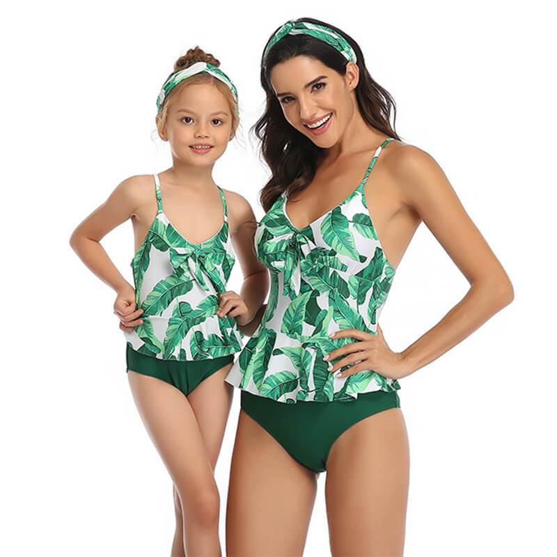 Family Green Leaf Printed Swimsuit - fashionyanclothes