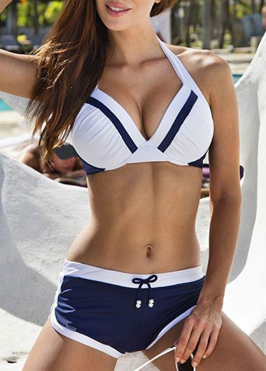 Halter Color Block Drawstring Waist Bikini Set - fashionyanclothes