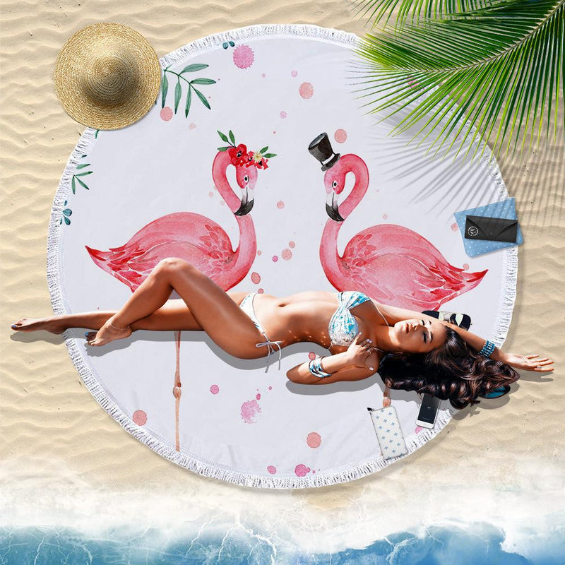 Flamingo Print oversized 150 cm Tassel Round Beach Throw - fashionyanclothes