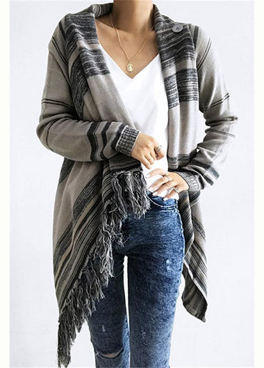 Single Button Tassel Asymmetrical Hem Shawl