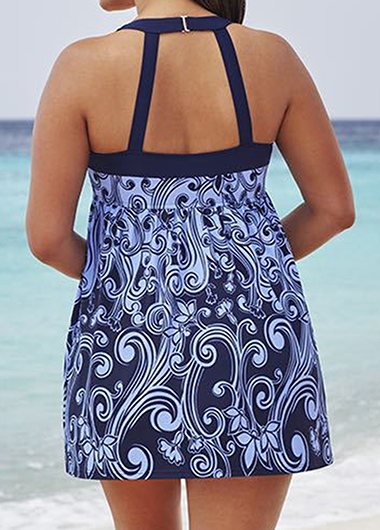 Plus Size Printed Swimdress Top and Panty - fashionyanclothes