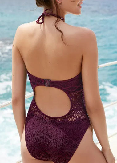 Open Back Purple One Piece Swimwear