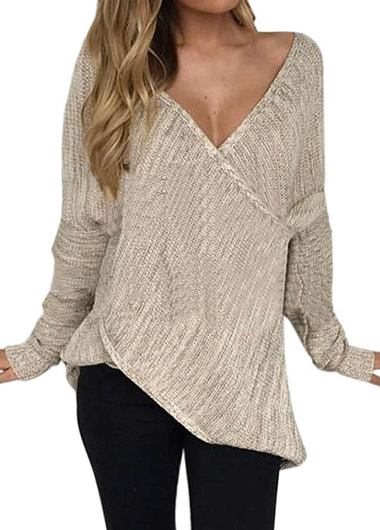 Fashionyan V Neck Front Cross Sweater - fashionyanclothes