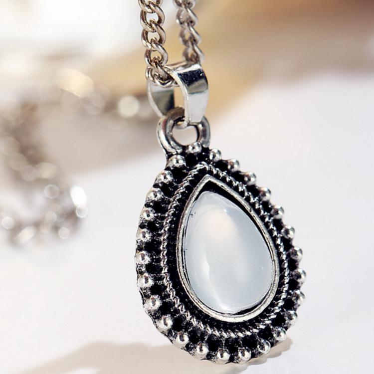 Drop Shape Silver Metal Layered Necklace for Woman - fashionyanclothes